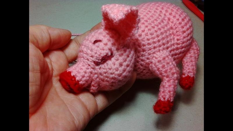 Розовый поросенок ч 1 A pink pig р 1 Amigurumi Crochet Амигуруми Игрушки крючком