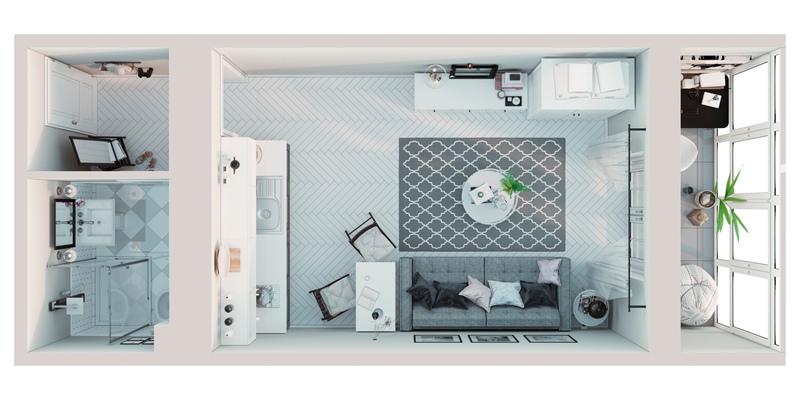 Проект квартиры 23 м (с лоджией – 27 м) для девушки.
