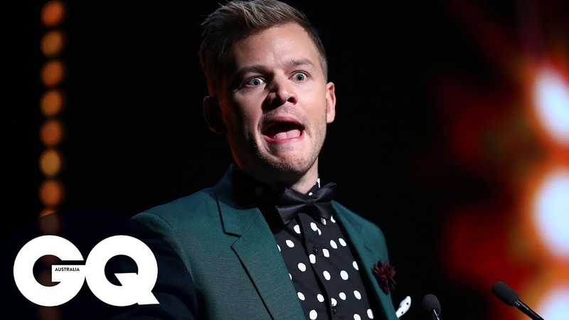 Joel Creasey Leave Room In Stitches Presenting Lucky Blue Smith With GQ Award