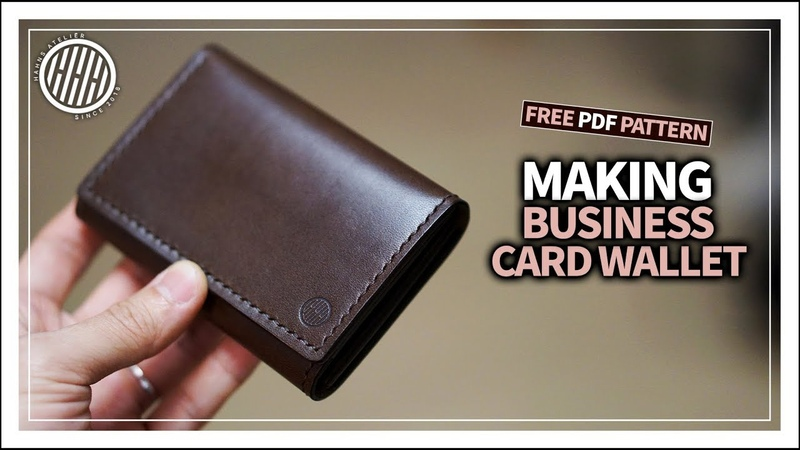 [Leather Craft] Making a business card wallet tutorial free pdf template