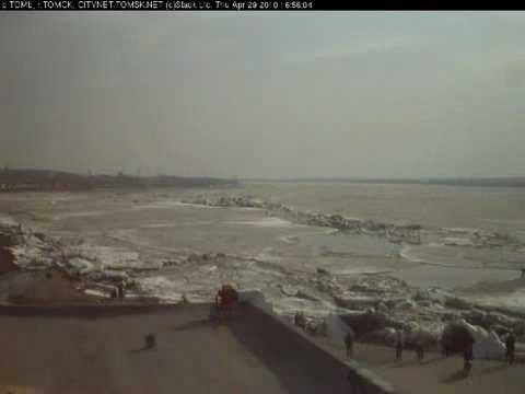 Сход ледяного затора (вебкамера)