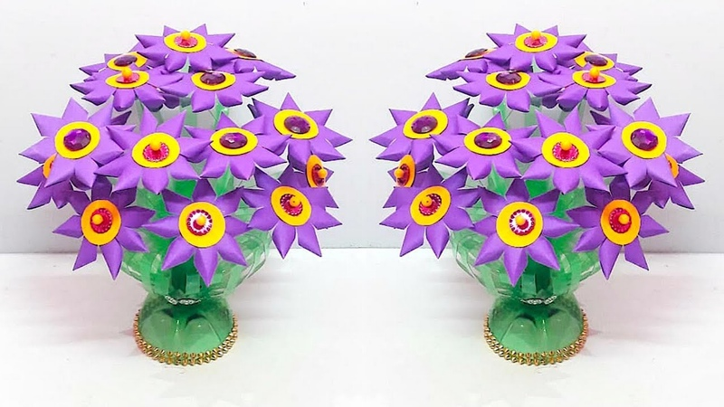 DIY Guldasta with paper flower and plastic bottle at home   DIY paper Flower Guldasta