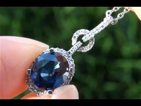UNHEATED Blue Ceylon Sapphire Diamond Pendant From Newport Beach Estate - Auction