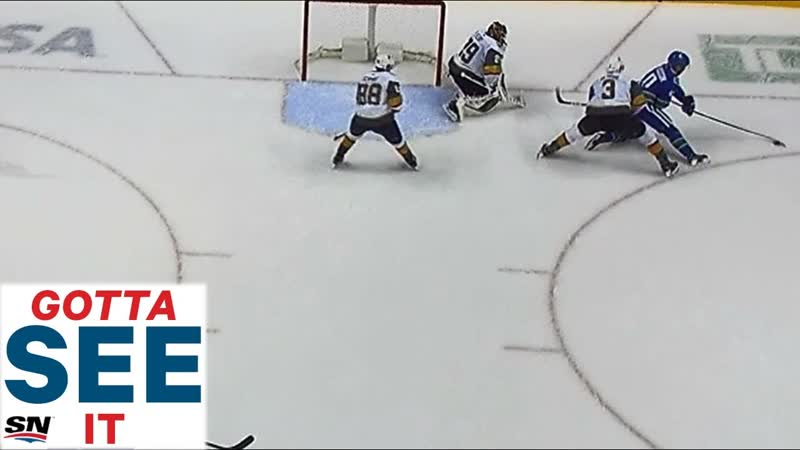 GOTTA SEE IT_ Elias Pettersson's No-Look pass From Knees Sets Up Brock Boeser For Goal