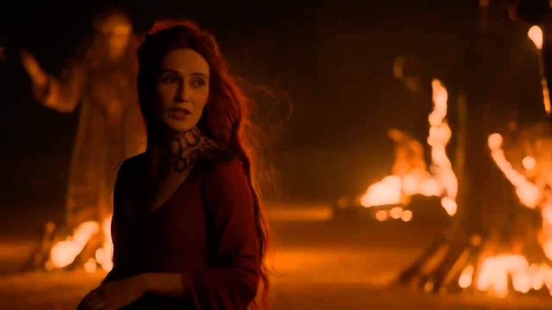 Game of Thrones S02E01 Stannis Baratheon and Melisandre burning the Seven