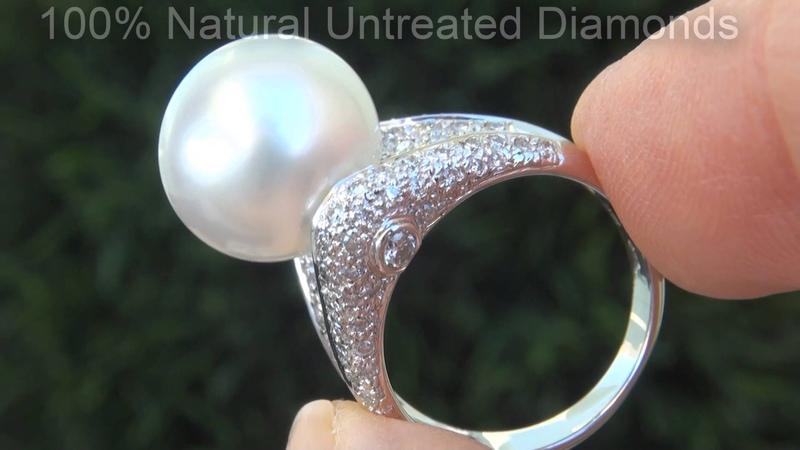 Natural UNTREATED Tahitian Pearl Diamond Ring C692