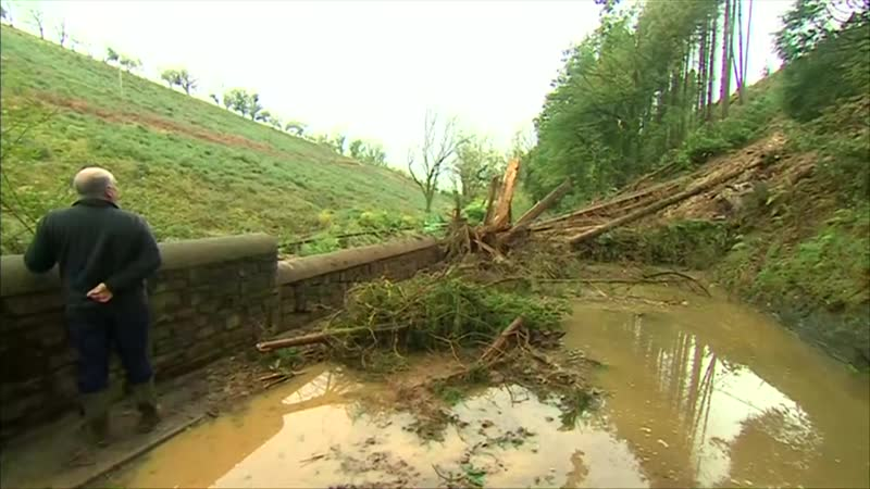 Storm Callum causes landslide and floods in west Wales