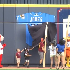 LeBron James had his number retired by his hometown minor league baseball team, the Akron RubberDucks