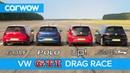VW Golf GTI v Polo GTI v Golf Clubsport S v Up GTI DRAG ROLLING RACE carwow