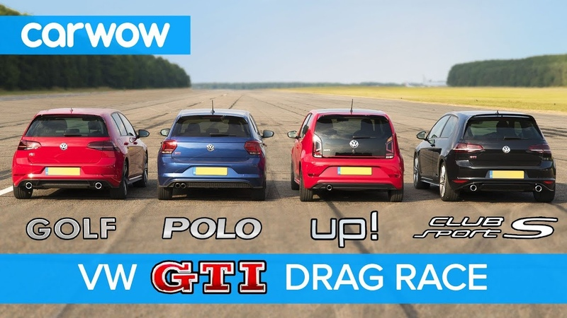 VW Golf GTI v Polo GTI v Golf Clubsport S v Up GTI DRAG ROLLING RACE carwow смотреть онлайн без регистрации