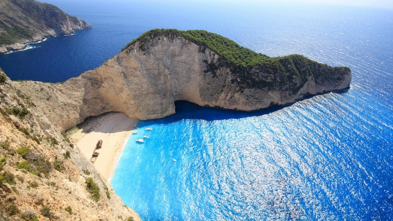 Картинка океан Скалы море пляж Греция бухта Gambar samudera Batuan laut pantai yunani