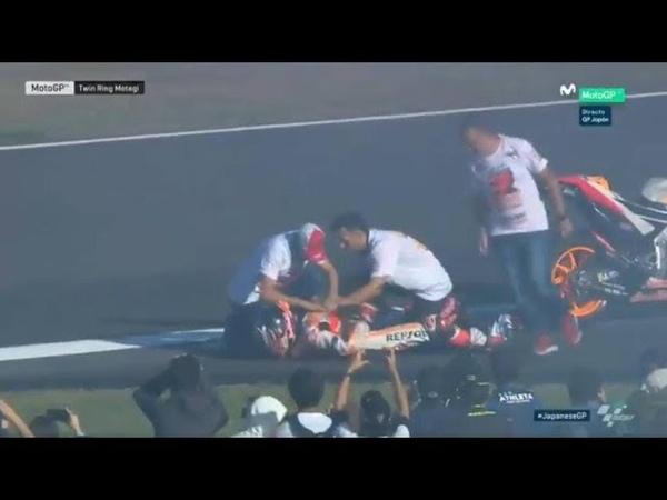 MARC MARQUEZ SE DISLOCA HOMBRO INJURY MARC MARQUEZ MOTO GP GP JAPÓN MOTO GP 2018