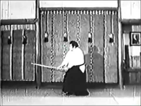 Saito sensei performing Ken suburi (1974)