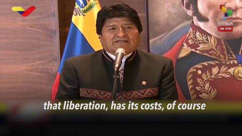 President of Bolivia Evo Morales arrives in Venezuela