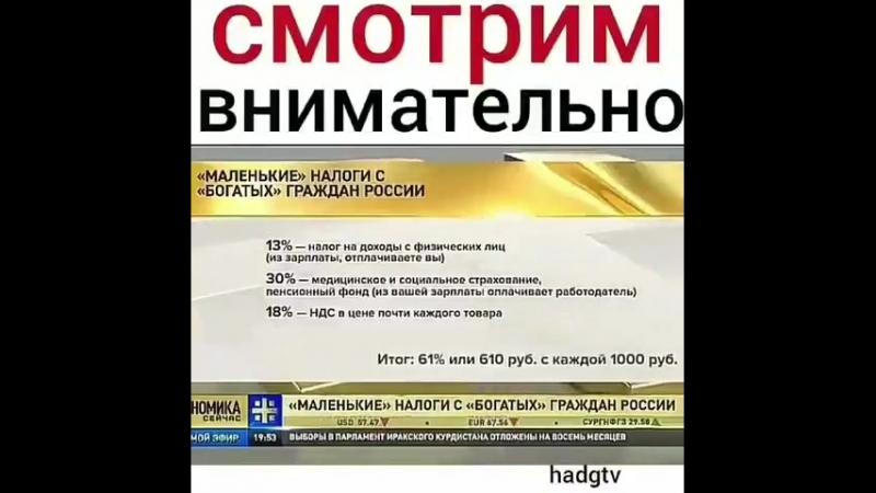 НАЛОГИ В РОССИИ КАЖДЫЙ ГРАЖДАНИН РОССИИ ПЛАТИТ В ГОСБЮДЖЕТ РОССИИ НАЛОГОВ С СВОЕЙ ЗАРПЛАТЫ 800 РУБЛЕЙ С КАЖДОЙ ЗАРАБОТАННОЙ ИМ 1