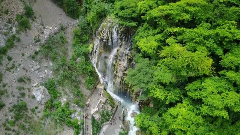 Tolantongo Caves Prismas Basalmicos Drone in Hidalgo Mexico