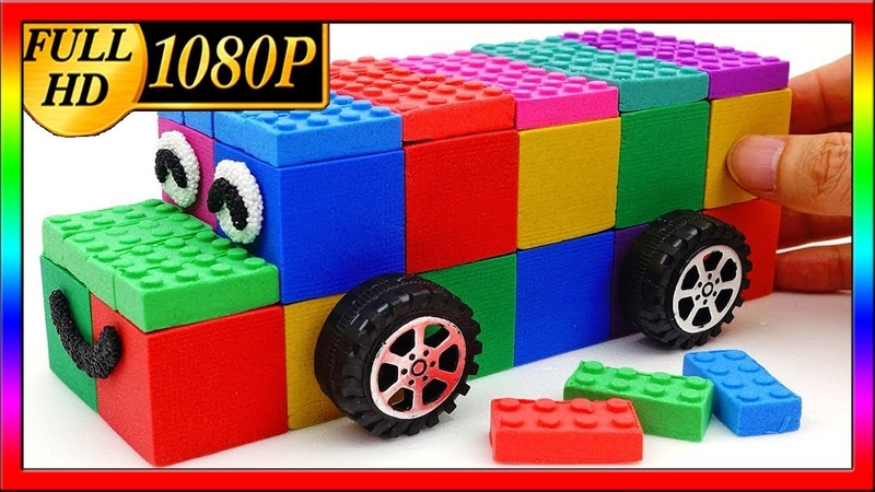 DIY How to make Rainbow Kinetic Sand Peppa Pig Bus Toys Learn Colors Surprise Toys Songs for Kids