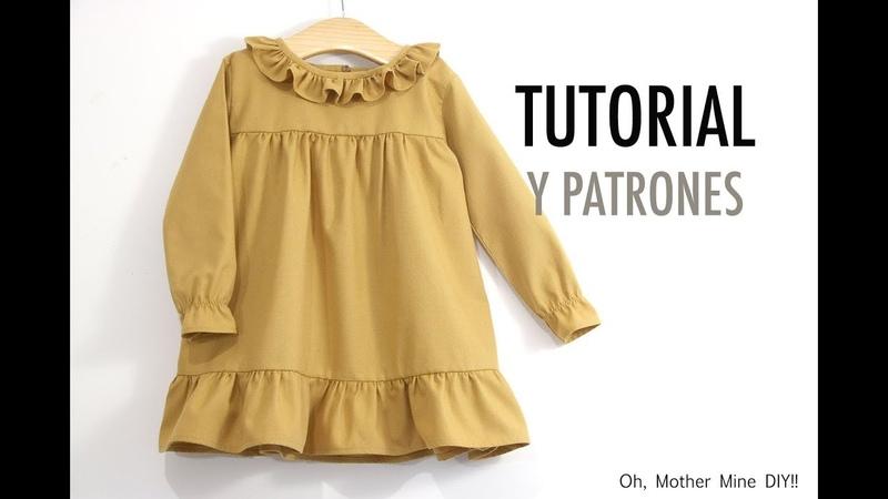 Patrones vestido de niña en color azafrán varias tallas
