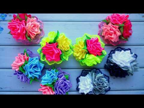 Бантики с розами из лент 2.5 см. МК Валентина Инюткина