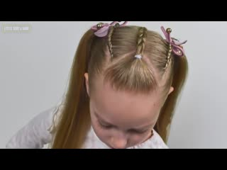 French and Dutch lace braids Ponytails (Quick and Easy hairstyle for Girls #74)