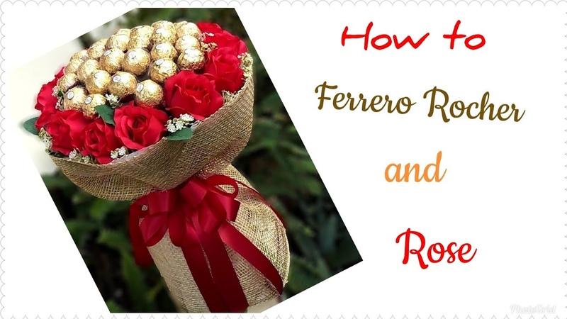How to make Ferrero Rocher and Rose Bouquet/วิธีทำช่อเฟอร์เรโร่ผสมดอกกุหลา