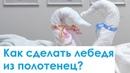 Как сделать Лебедя из махровых полотенец для гостиниц