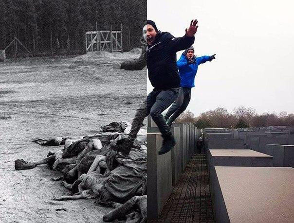 Израильский сатирик создал проект, в котором совместил селфи туристов у берлинского мемориала памяти жертв Холокоста с документальными снимками.