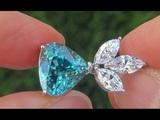 GIA Certified UNHEATED VVS Natural Blue Zircon Diamond 18k White Gold Pendant Necklace - A141618