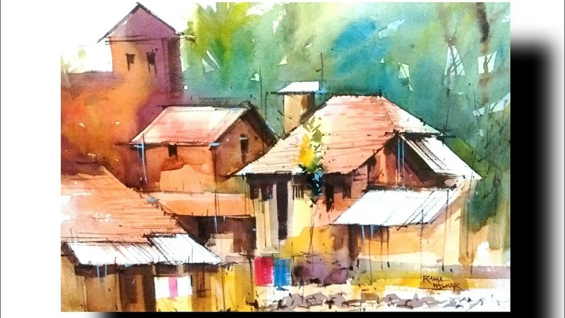 Indian rural area in sikkim water colour artist milind mulick way.