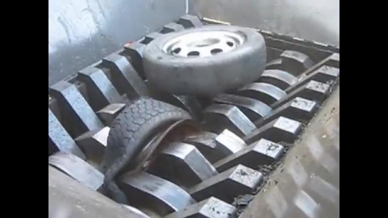 Измельчение шин легковых автомобилей