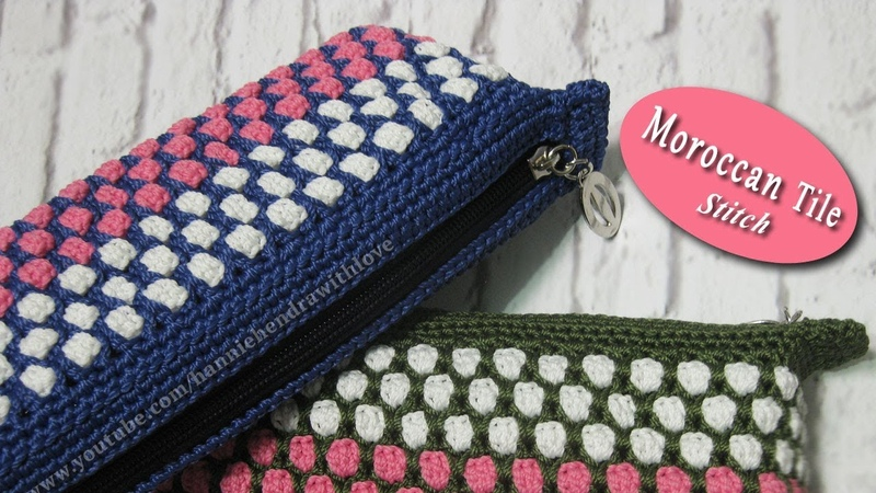 Crochet    Merajut Tempat Pensil - Moroccan Tile Stitch and Zipper