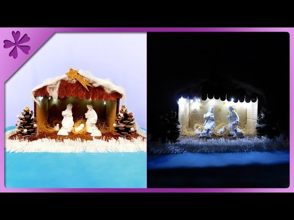 DIY How to make Christmas crib out of sticks, with lights (ENG Subtitles) - Speed up 425