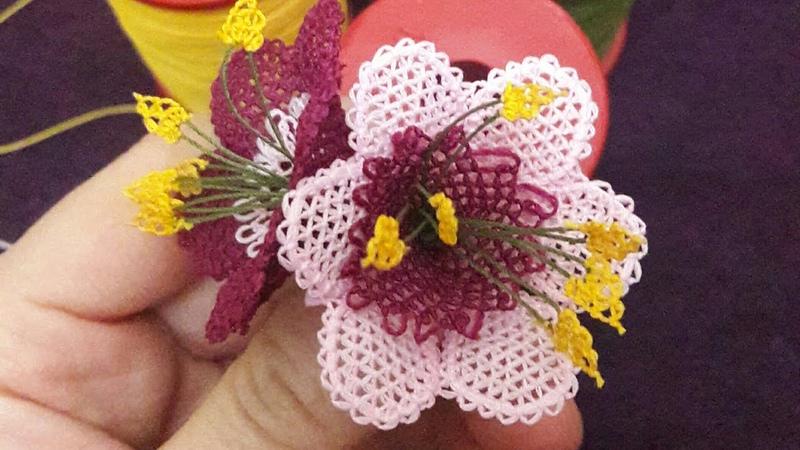 Iğne oyası nergis çiçeği yapılışı needle lace flower игольчатое кружево роза