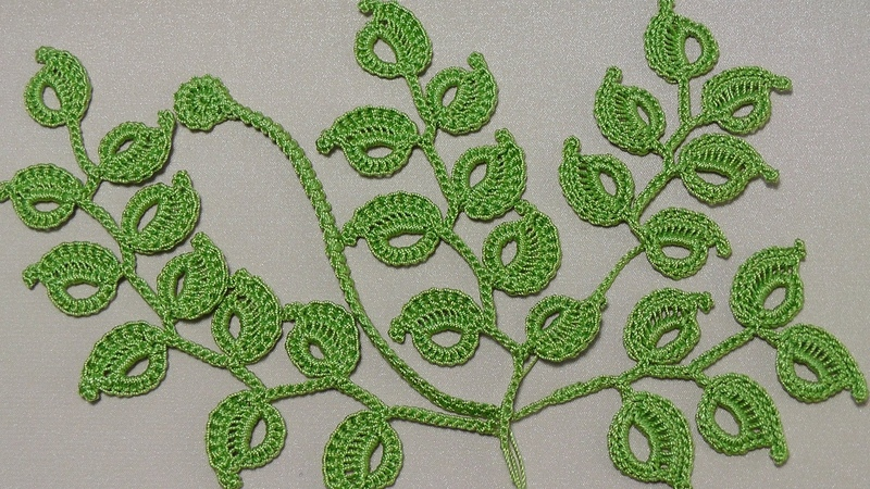 Урок вязания крючком КАК ВЯЗАТЬ ВЕТОЧКУ ЛИСТИКОВ Ирландское кружево Irish lace