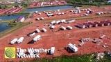 Aerials Tornado destroys parts of RV park in North Dakota