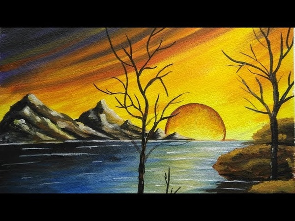 How to paint a beautiful scenery - Sunset | Acrylic Landscape Painting