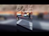 Рейсовый автобус сгорел сегодня утром на проспекте Обуховской Обороны