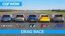 AMG A35 v BMW M140i v Golf R v Audi S3 v Focus RS - DRAG RACE, ROLLING RACE BRAKE TEST