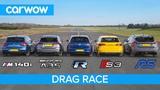 AMG A35 v  BMW M140i  v Golf R v Audi S3 v Focus RS - DRAG RACE, ROLLING RACE &amp BRAKE TEST