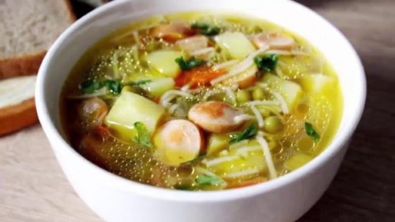 русская кухня простой и вкусный суп с сосисками рецепт приготовления супа фото видео урок