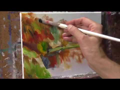 Realtime FALL COLOR Oil Painting Demo Trees and Pond