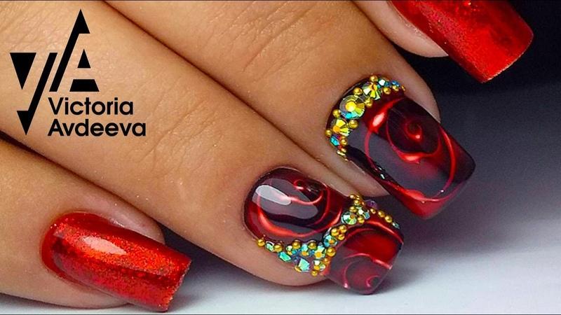 Топ Урок Экспресс Дизай Ногтей Витражная Роза | ТОП удивителные дизайны ногтей