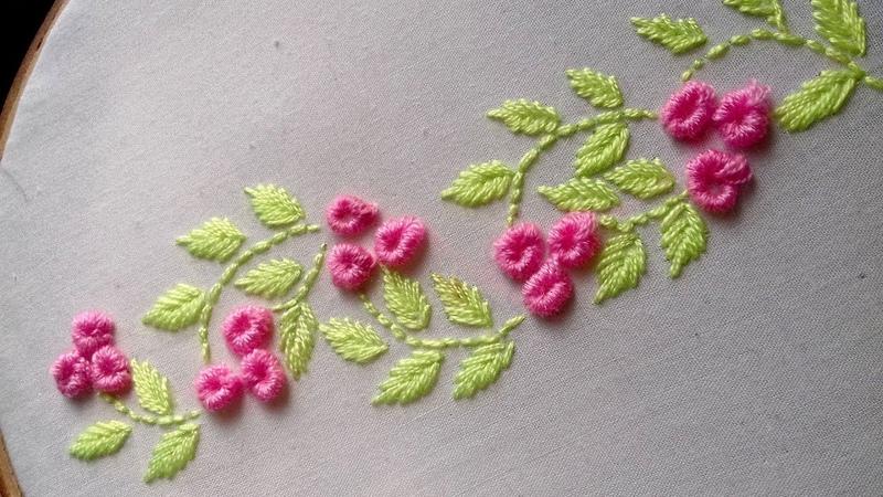 Hand Embroidery brazilian stitch border design.