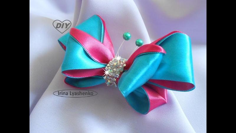Бант-бабочка из лент МК/ Bow Butterfly DIY/PAP Borboleta de proa138