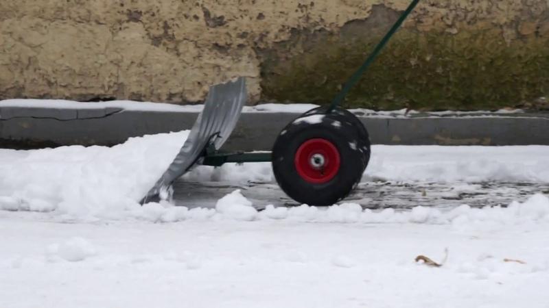Движок скрепер снегоуборочный на колёсах, оцинкованный ковш
