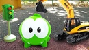 Мультики для детей Ам Ням играет на детской площадке. Песочница и машинки. Развивающее видео
