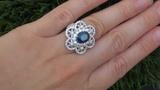 GIA Estate 7.87 ct Blue Sapphire Diamond Engagement 18k White Gold Vintage Ring