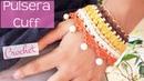 Pulsera cuff de ganchillo con cadena y abalorios Crochet cuff bracelet with chain and beads