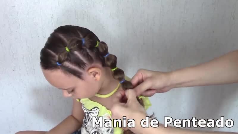 Penteado Infantil lateral com ligas e trança bolha