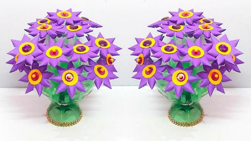 DIY Guldasta with paper flower and plastic bottle at home | DIY paper Flower Guldasta